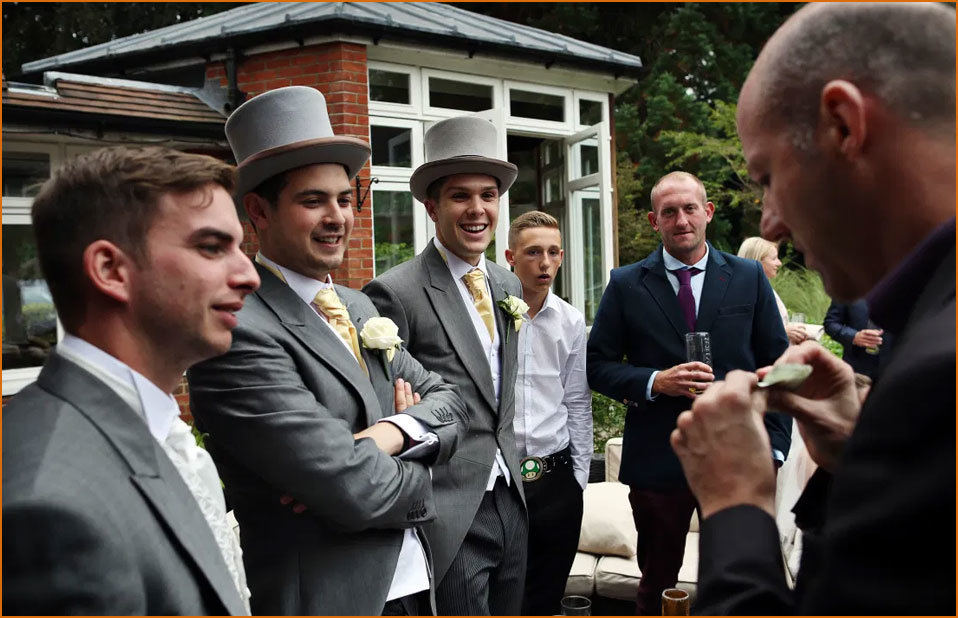 Ascot Magician, Ian Souch, Performs Close-Up Magic to Wedding Crowd