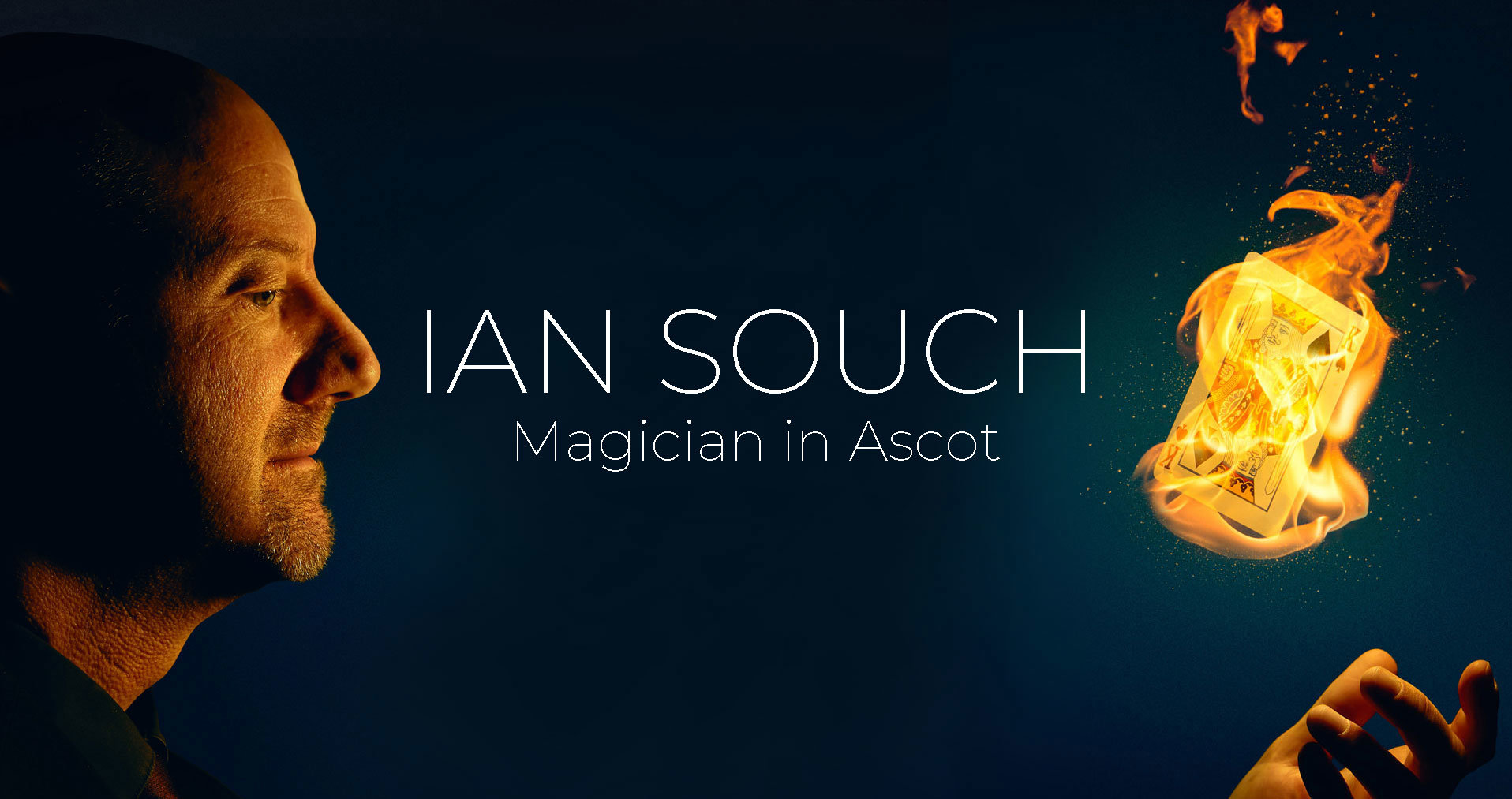 Ascot Magician, Ian Souch with flaming card